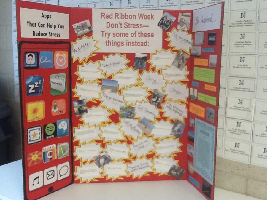 A display of healthy stress relievers was shared with students during lunches. The goal of Red Ribbon Week was to encourage students to find healthy ways to manage stress.