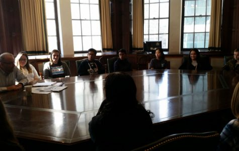During a visit to The Chicago Tribune, members of the Announcer staff learn about the history of The Chicago Tribune  and Tribune Tower from Editor Page Editor, John McCormick.