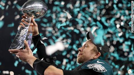 Photo Credit: CNN - Nick Foles holds championship trophy