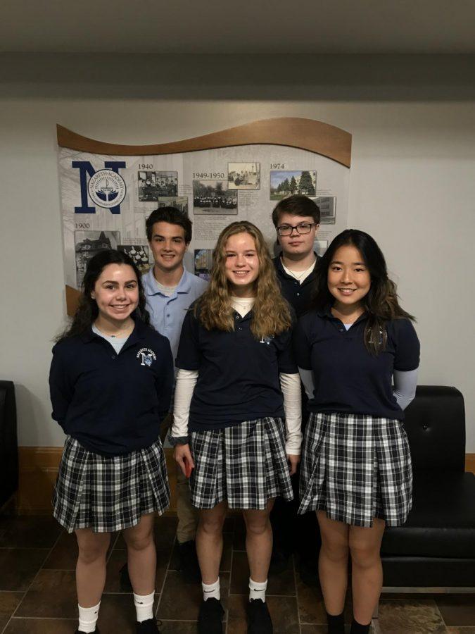 Maria Murphy, Nicholas Rozmus, Julia Olander, Connor Dempsey, and Sophia Cho