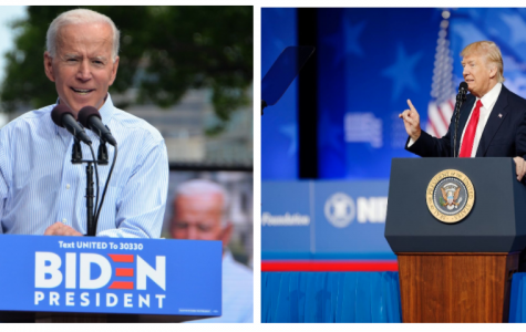 Left, Former Vice President Joe Biden at his kickoff rally for his 2020 Presidential campaign on May 18, 2019.  Right, President Trump at the Conservative Political Action Conference on February 24, 2017