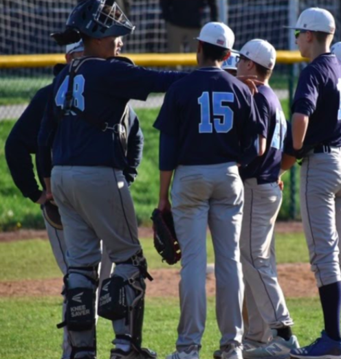 Nazareth baseball players huddle pre-COVID-19