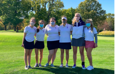 Members of the Nazareth Girls Golf Team from left to right: Megan Kornafel, Cate Vahl, Emma Akalaitis, Ivy Verburgt, Lily Verburgt, and Lydia Breslow