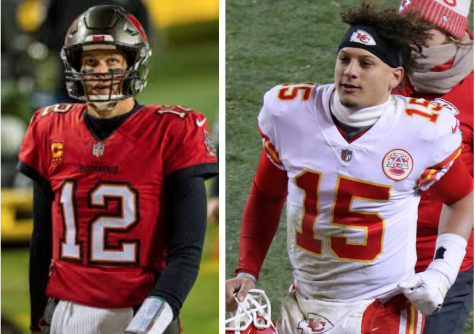 Left, Tampa Bay Buccaneers Quarterback Tom Brady. Photo courtesy of Wikimedia Commons. Right, Kansas City Quarterback Patrick Mahomes II. Photo courtesy of Jeffrey Beall/Wikimedia Commons.