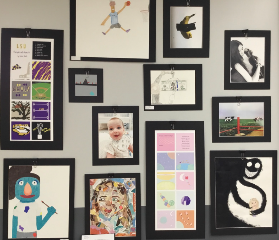 Students display their artwork for the Scenes & Sounds event that features self portraits and a variety of materials and designs.  Photo by Adrian Perez