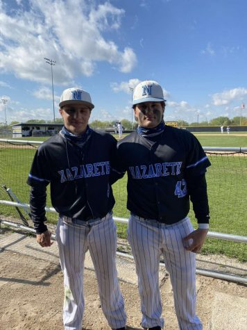 Seniors Joe and Anthony Milano on the ball field