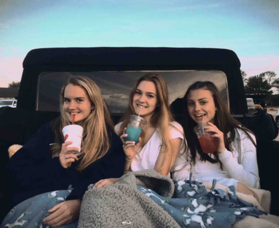 Seniors Fiona Roach, Grace McGovern and Isa Byczek at the McHenry Outdoor Theater.
